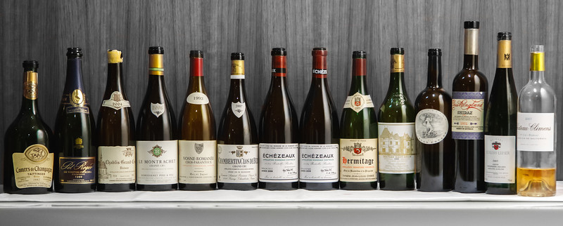 A stunning array of wines - Jayer, DRC, Rousseau, Chave, Raveneau, Harlan, Haut-Brion and more